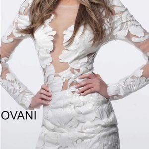 Jovani 62811 White Long Sleeve Embell Short Dress